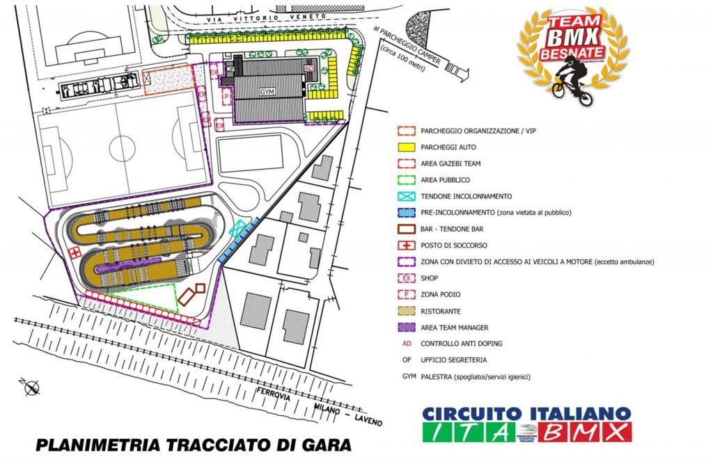 Planimetria Pista 1 e 2 Prova Circuito Italiano Besnate 17-18 Marzo 2018