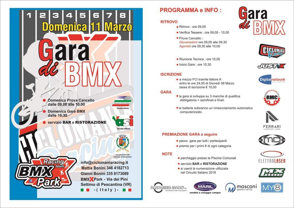 Locandina 1 Trofeo Pescantina VR Bmx Verona - 11 Marzo 2018