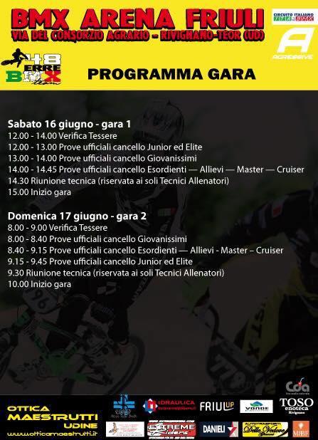5° e 6° Prova Circuito Italiano – Rivignano 16-17 Giugno 2018 - Info e orari