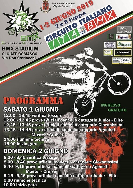 Locandina 7′ e 8′ tappa circuito italiano bmx – Olgiate Comasco – 01 e 02 Giugno 2019